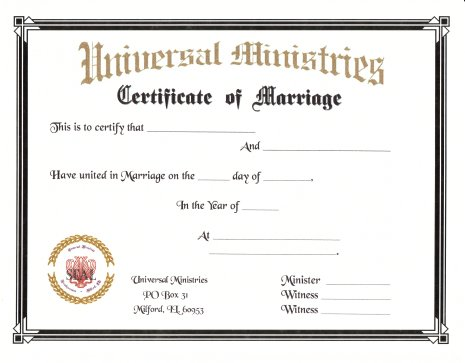 Plain Marriage Certificate