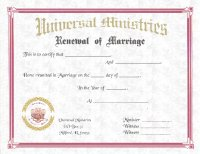 Plain Renewal of Marriage Certificate